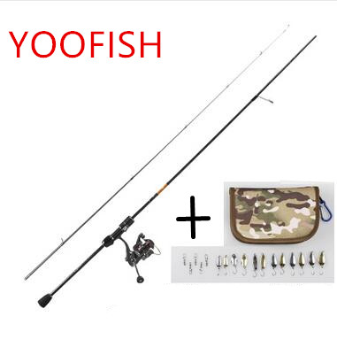 YOOFSIH 1.8M 2Section top quality carbon Fuji Rings spinning Fishing Rod Power:UL Carbon Portable Lure Rods 2-6LB line weight