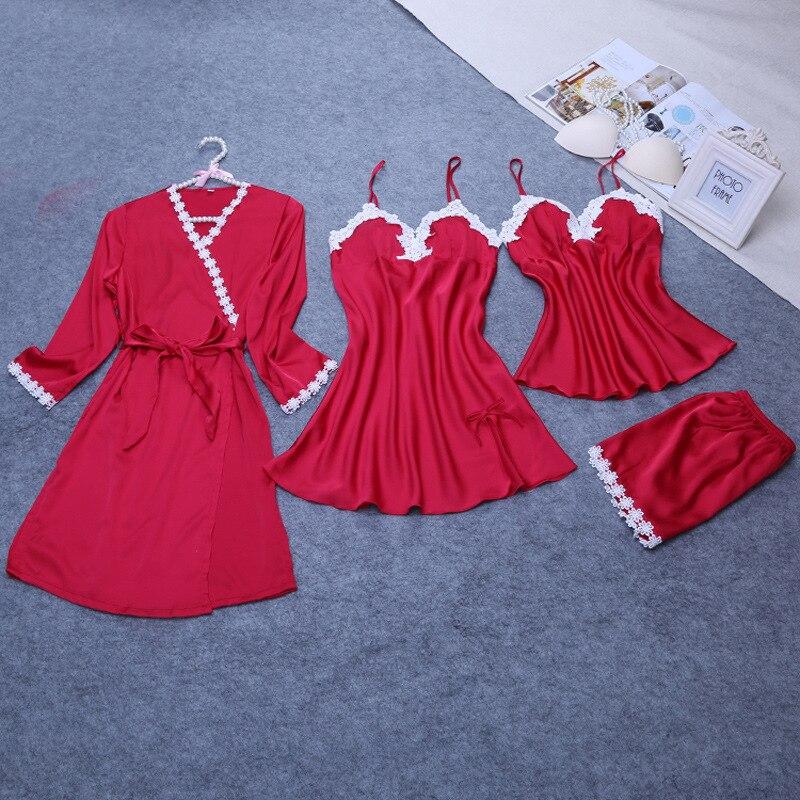 new design women's   pajamas     set   three pieces bathrobe +   pajamas     set   + nightdress luxury sexy female nightwear hot