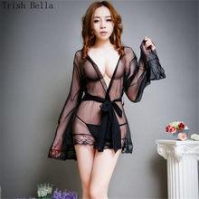 0039b4761 Lace transparent Cardigan Frenulum Long sleeves Dew Pajamas porno sexy  lingerie erotic sexy underwear lenceria langerie babydoll