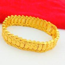 Толстый Браслет с желтым золотом женский мужской браслет на