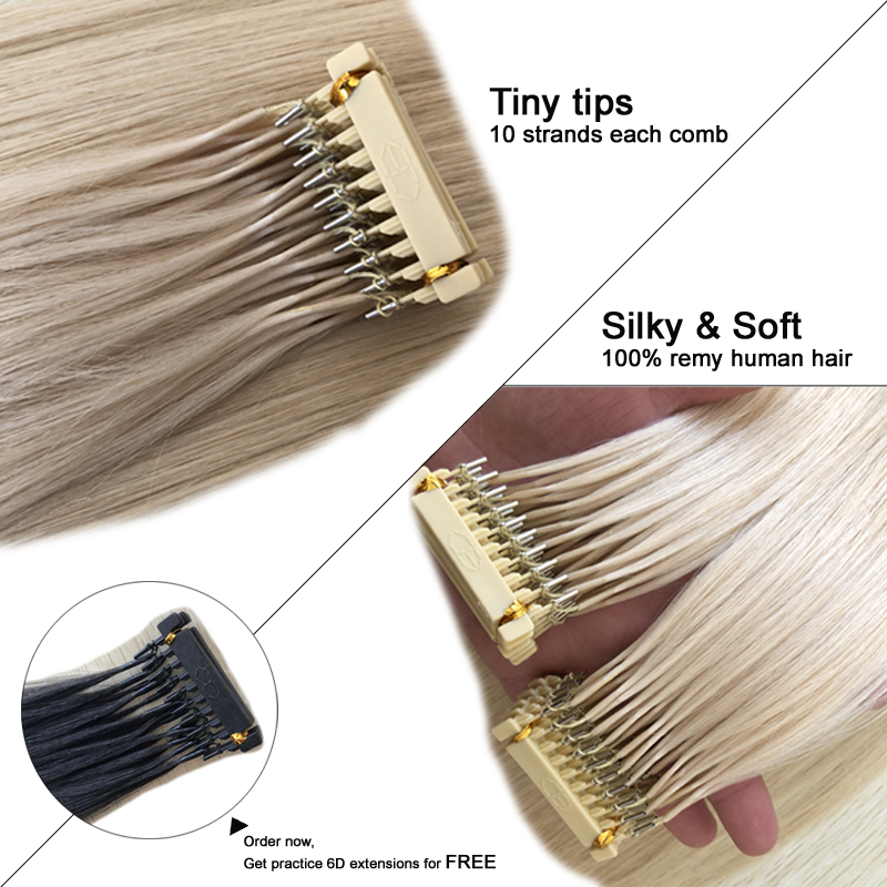 2018 High Quality Double Drawn Cuticle Aligned Remy 8A Malaysia Hair 6D Pre Bonded Human Hair Extensions /50g Colors 613#Golden 1g s 100g human remy hair 8 light brown straight custom capsule keratin stick i tip fusion full human hair extensions