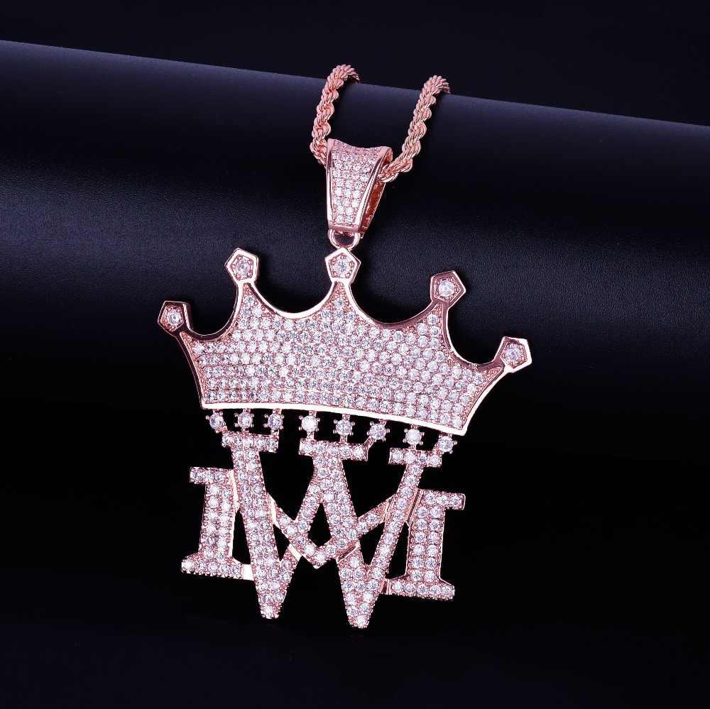 Korona z MW naszyjniki i wisiorki z łańcuch tenisowy złoty srebrny kolor Bling Cubic cyrkon męska Hip hop mężczyźni biżuteria