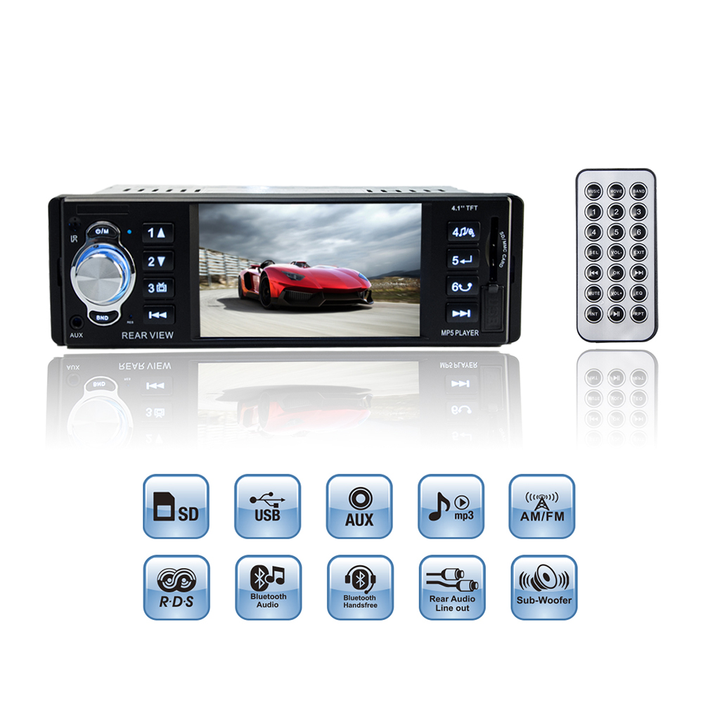 Car MP3 MP5 Player 4.1 Inch TFT HD Support Rear View Camera 12V FM Radio / Charger / MP4 / Audio / Video / USB / SD / AUX 1 DIN