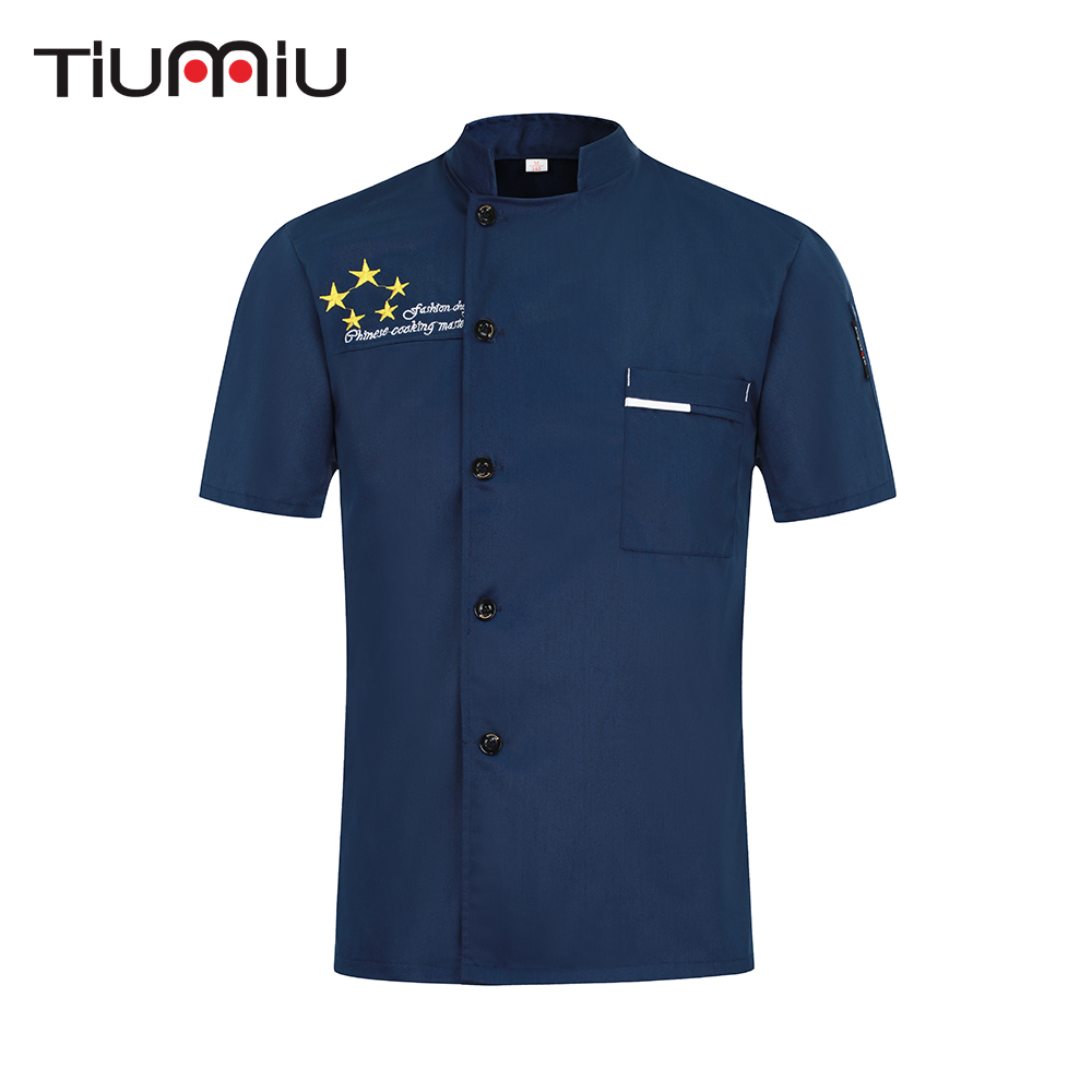 2019 New Chef Shirt Short Sleeve Kitchen Restaurant Uniform  Men Women Ladies Chef's Jacket Hotel Barbershop Sushi Work Clothes