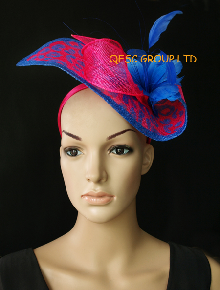 1ee28bc037bb0 Wholesale NEW 13 colours arrival fuchsia royal leopard print sinamay  Fascinator hat for kentucky derby