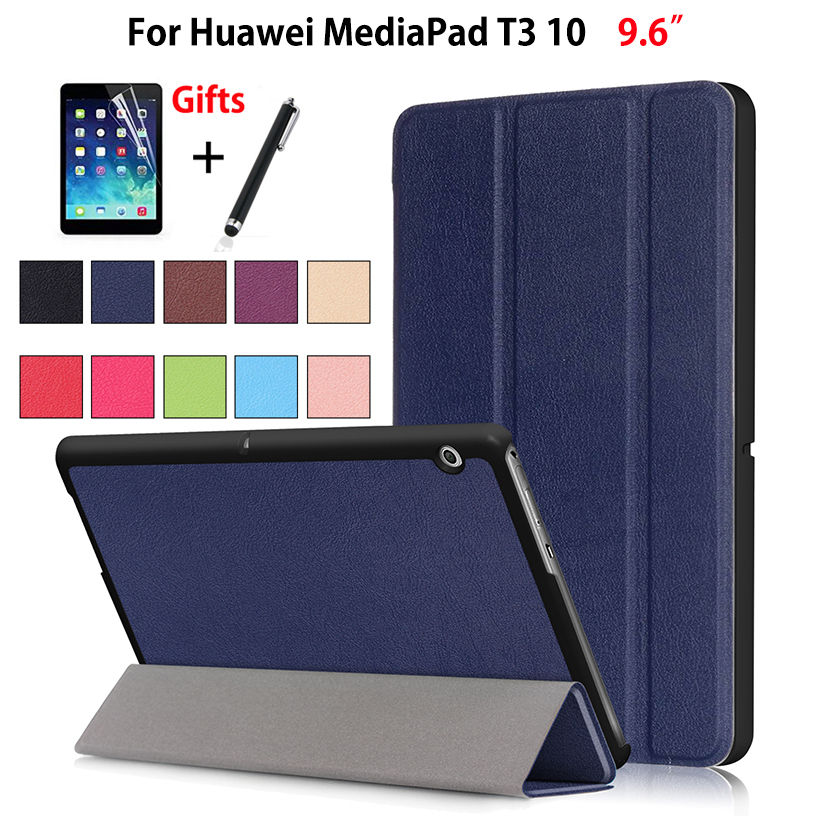 Tablet Case For Huawei MediaPad T3 10 AGS-L09 AGS-L03 9.6 inch Cover Funda for Honor Play Pad 2 9.6 Slim Stand PU Case+Film+Pen folio slim cover case for huawei mediapad t3 7 0 bg2 w09 tablet for honor play pad 2 7 0 protective cover skin free gift