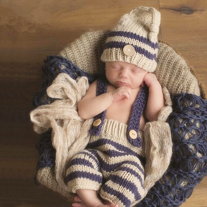Newborn Photo Props Baby Costume Photography Baby Boy Accessories Cute Baby Crochet Hat+Suspenders Set Baby Photography Props