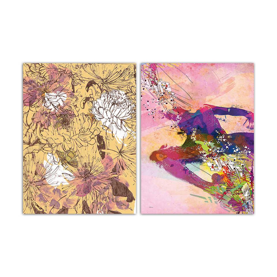 Абстрактный цвет пион цветы живопись Вода цвет граффити картины девушки декор комнаты нордический стиль картина с напечатанным рисунком стены искусства