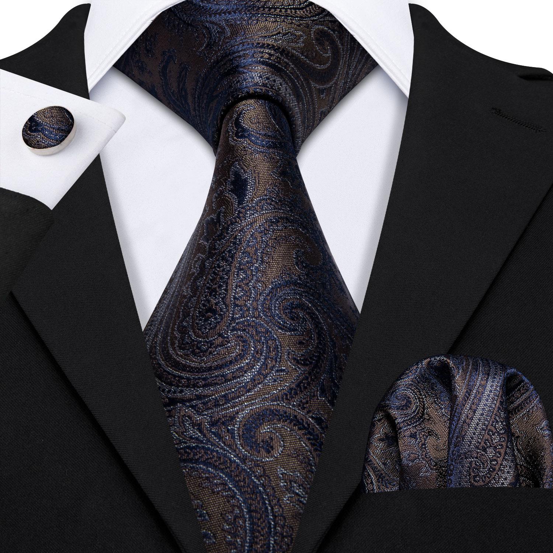 Barry.Wang Fahsion Designer Brown Paisley Mens Silk Ties Gravat Ties Hanky Box Set Gifts For Men Wedding Groom Neckties LS-5163