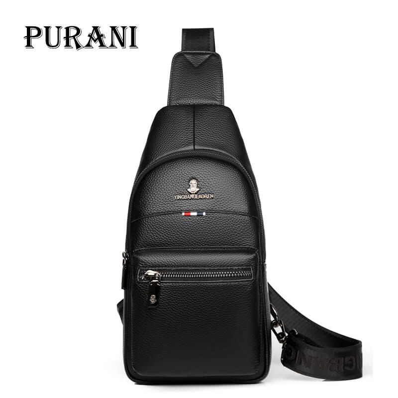 PURANI Men s Genuine Leather Chest Packs Brand Designed Crossbody Bags Earphone Holes Travel Shoulder Bags
