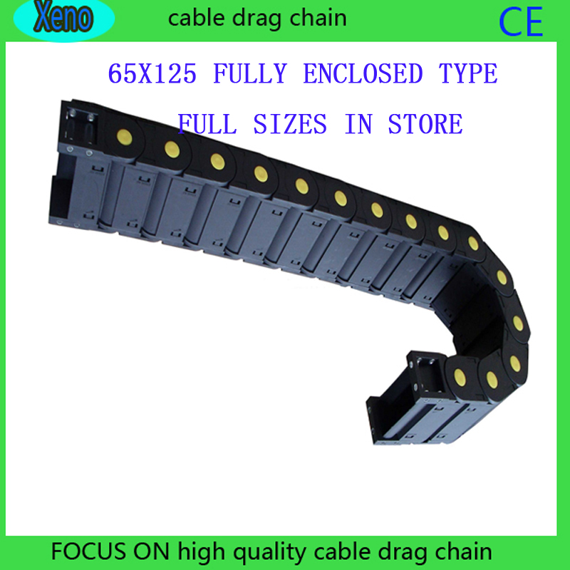 цена на Free Shipping 65*125 1 Meter Fully Enclosed Type Plastic Towline Cable Drag Chain Wire Carrier With End Connects For CNC Machine