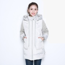 Ms. 2016 new winter thick warm hooded down jacket and long straight loose