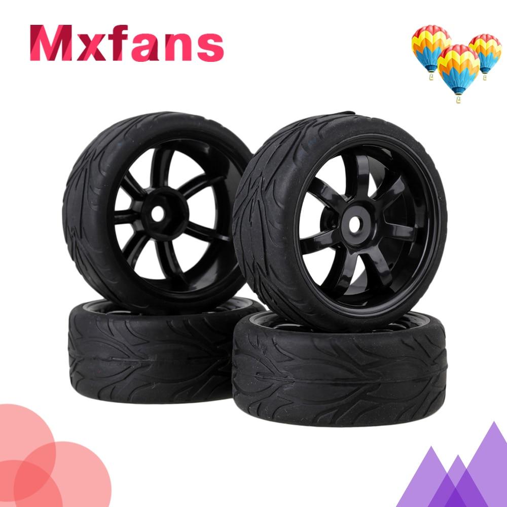 Mxfans 4x Black RC 1:10 On-road Car Rubber Fish Scale Tyre & Plastic 7-spoke Wheel Rim mxfans 4 pcs aluminum alloy wheel felloe rc 1 10 on road rimmer black wheel rims