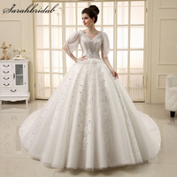 Luxury Lace Beaded White Long Wedding Dresses Fashion A line Crystal Bridal Dresses Custom Made Vestido De Noiva A307