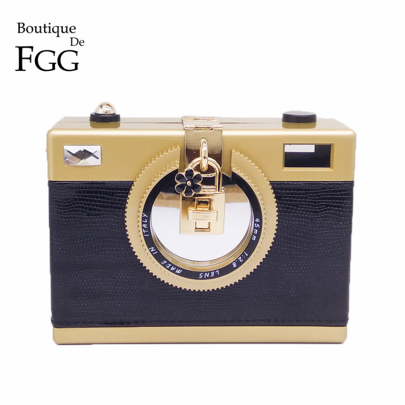 Fashion Camera Clutch Handbag For Women Evening Party PU Shoulder Bags Casual Crossbody Bag Ladies Hard Case Box Clutch Bag