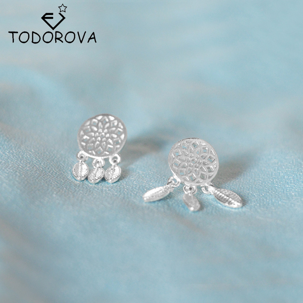 Todorova New Hot Sale 925 Sterling Silver Bohemia Indian Feather Dream  Catcher Dreamcatcher Tassel Stud Earrings