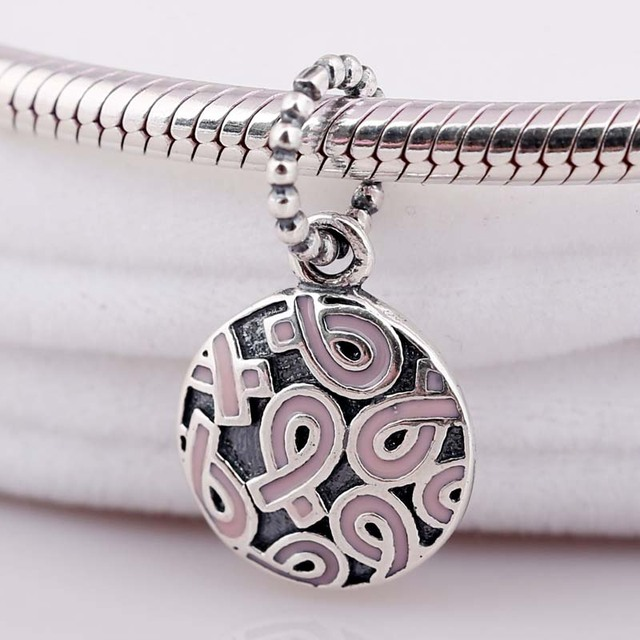 6ea95984b New Vintage Breast Cancer Pink Ribbon Necklace Pendant Fit Pandora Bracelet  Bangle Diy Jewelry 925 Sterling Silver Bead Charm