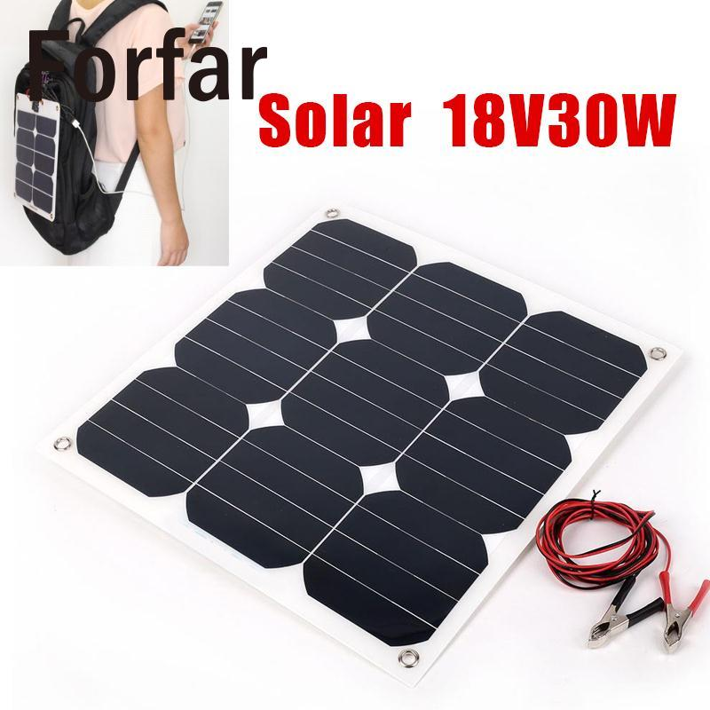 Forfar IP67 30W 18V Flexible Boat Caravan Car Vehicle Solar Panel For Outdoor Activity forfar 18v 30w smart solar power panel car boat battery bank charger w alligator clip portable travelling solar panel power