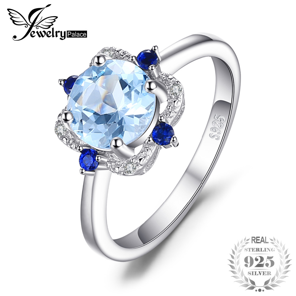 JewelryPalace Fashion 1.8 ct Round Natural Sky Blue Topaz & Sapphire Engagement Rings For Women 925 Sterling Silver Fine Jewelry