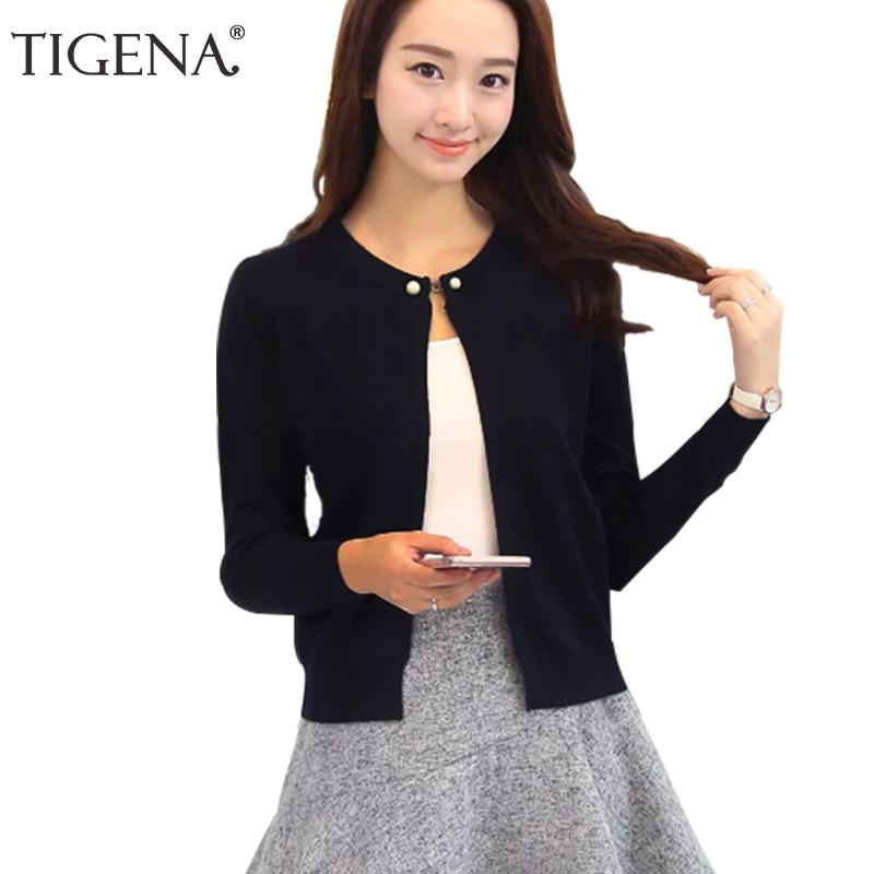 TIGENA Knitted Cardigan Women 2019 Spring Autumn Long Sleeve Sweater Cardigan Female Single Button Pull Femme Black Pink
