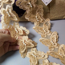 Organza Lace Craft Ribbon-Sewing-Supplies Embroidered Wedding Butterfly Gold Trim Flower-Soluble