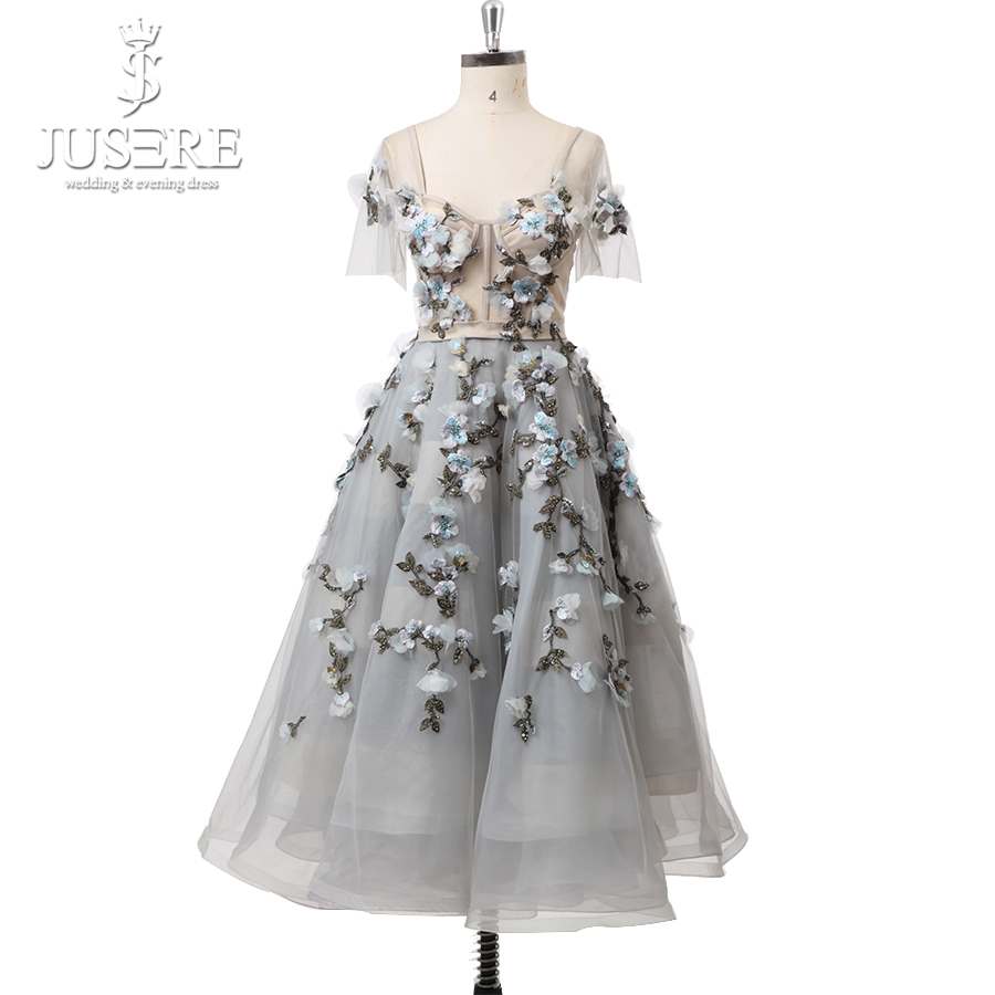 Corset Straps Side Sleeves Grey Tulle 3D Flowers Beading Fairy Short A Line Lovely Knee Length Prom Dress 2018