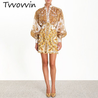 TVVOVVIN 2019 New Summer And Autumn Fashion Women Clothes Turtleneck Collar Lantern Sleeves Printed Hollow Out Shirt Blouse C045