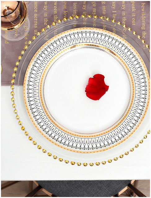 HTB1 z64LhYaK1RjSZFnq6y80pXah.jpg 640x640 - dinnerware - Nordic Gold Bead Glass  Wedding Plates