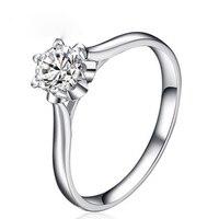 ANI Century Classic натуральной 0,2 КТ Certified я/SI круглой огранки Обручение Для женщин кольцо 18 К белый золото (AU750) bijoux