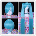 120CM very long light blue 2 clip on ponytails VOCALOID Hatsune Miku cosplay wigs hair perucas CW140