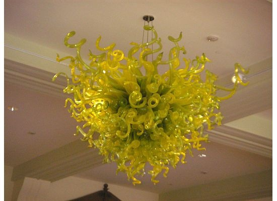 Modern High Hanging Wing shape Green Color Handmade Blown Chihuly Murano Glass Chandelier Lighting