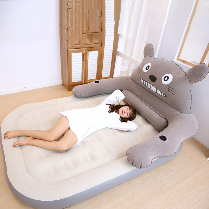Cartoon Totoro Design Flocked PVC Inflatable Bed Potable Lounge Air Bed Rest Pocket Indoor Outdoor Bed R1346Cartoon Totoro Design Flocked PVC Inflatable Bed Potable Lounge Air Bed Rest Pocket Indoor Outdoor Bed R1346