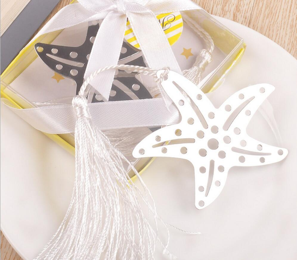 30pcs Silver Stainless Steel Starfish Bookmark For Wedding Baby ...