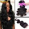 7A Malaysian Virgin Hair With Closure 4PCS Malaysian Body Wave Hair Bundles With 1PC Lace Closure 4x4 Part 100% Human Hair Weave