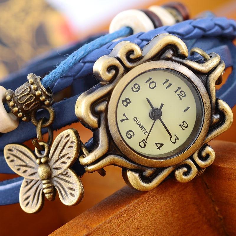 Doreen Box PU Leather Quartz Wrist Watch Vintage Bronze Bracelet Style Cute Butterfly Drop Battery Included 21cm Long 1 Piece