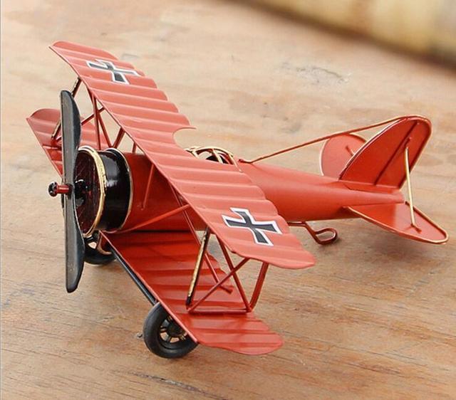 Metal Plane Retro Biplane Model Home Decor Iron Aircraft Glider Pendant Airplane Figurines Status Children