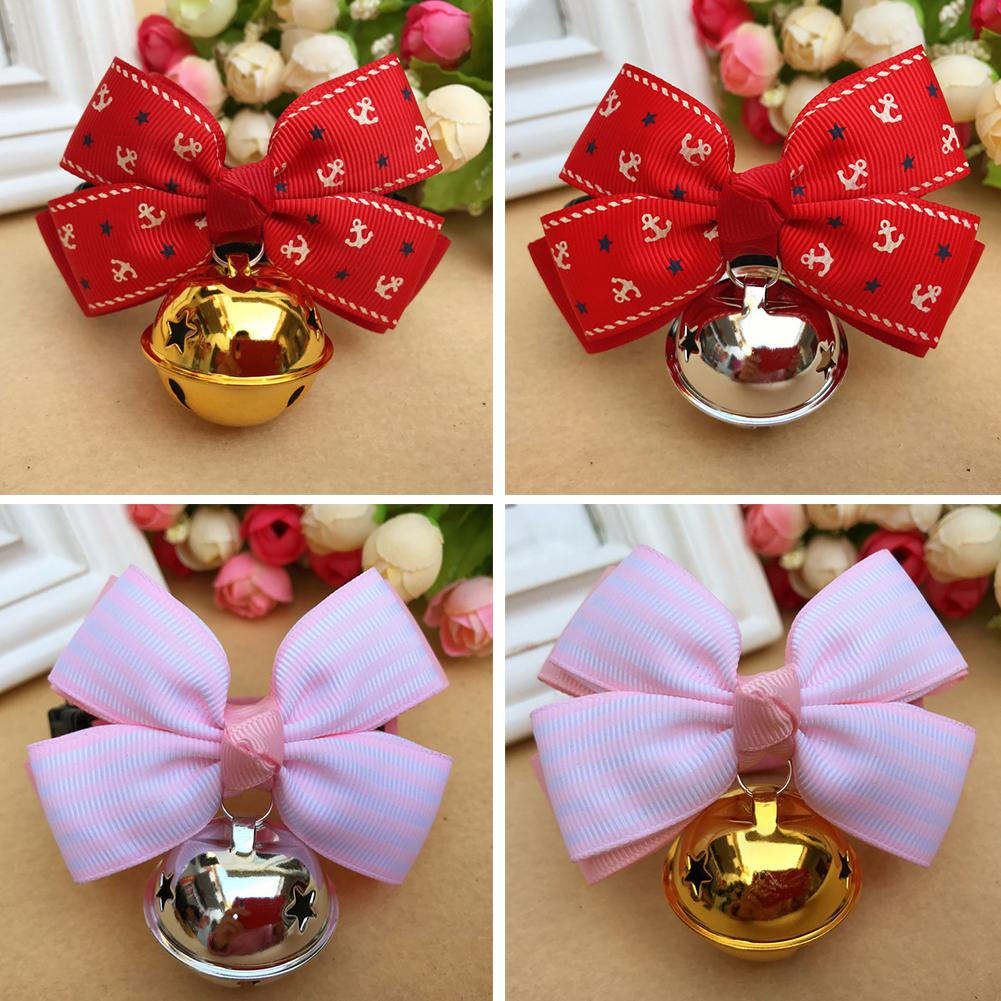 Fashion Cute Bowknot Bell Small Dog Cat Pet Decor Collar Korean Velvet Bow Tie