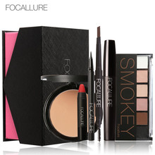 FOCALLURE Makup Tool Kit 6Pcs Cosmetics Including Eyeshadow Lipstick with Cosmetics Box Makeup Set for Gift