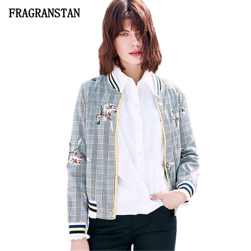 2018 Spring Autumn Female Vintage Fashion Gray Lattice Jacket Women New Flowers Embroidery Coat High Quality Casual Outwear Q596