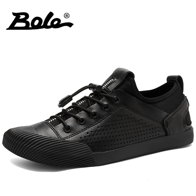 BOLE Summer Breathable Men Leather Shoes Gentleman Lace Up Casual Shoes Round Toe Flats Footwear High Quality Leather Shoes samool men s leather oxford shoes casual shoes for men round toe flats shoes lace up driving shoes khaki leather casual shoes