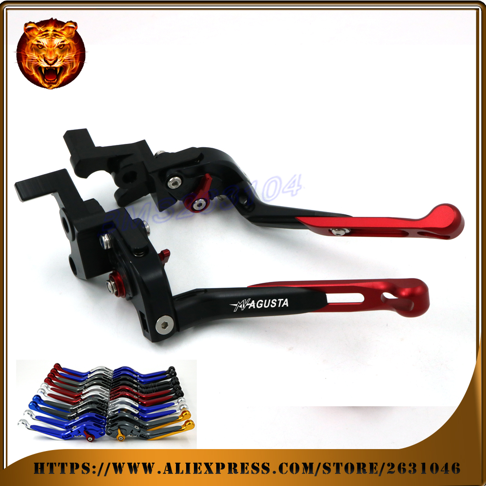Adjustable Folding Extendable Brake Clutch Lever For MV AGUSTA BRUTALE 750 910 989R 1078RR LOGO RACING Free shipping Motorcycle motorcycle accessories adjustable folding extendable brake clutch levers fits for mv agusta brutale 675 800