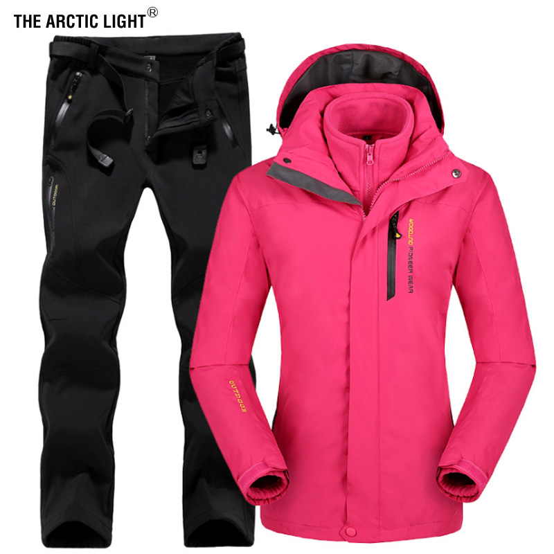 THE ARCTIC LIGHT Winter Women Outdoor Ski Jacket Suits Hiking Camping Sports Fleece Windbreaker jacket Thermal Fleece Pants Sets outdoor hiking jacket suits waterproof women plus size thermal fishing jacket suits mountaineer camping ski jacket suits brand