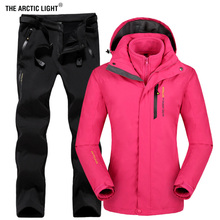 THE ARCTIC LIGHT Winter Women Outdoor Ski Jacket Suits Hiking Camping Sports Fleece Windbreaker jacket Thermal Fleece Pants Sets aile rabbit kids fashion suits outfit hoodie pants 2pcs jacket sports set flower print girl windbreaker raincoat camping k1