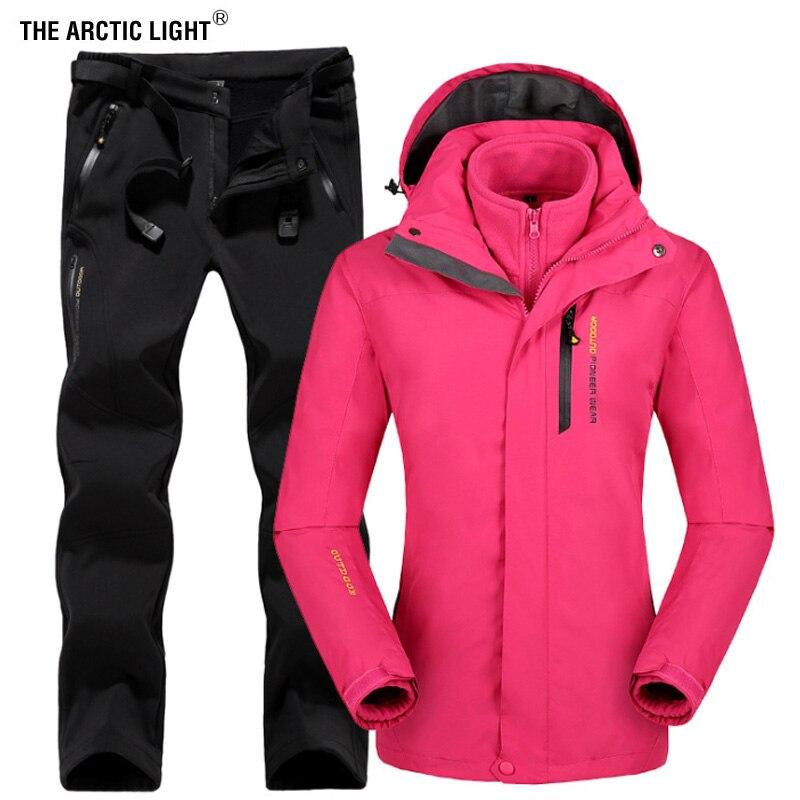 THE ARCTIC LIGHT Winter Women Outdoor Ski Jacket Suits Hiking Camping Sports Fleece Windbreaker jacket Thermal Fleece Pants Sets