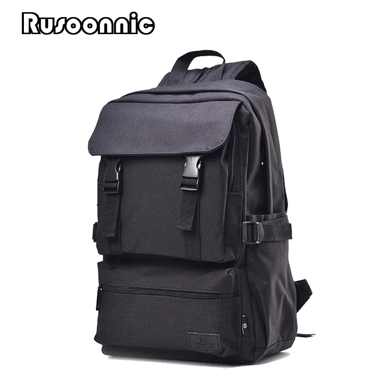 Rusoonnic Men Bag 18 Inch Canvas Travel Backpack Women Laptop Bags School Retro Backpacks escolar mochila masculina bagpack 14 15 15 6 inch flax linen laptop notebook backpack bags case school backpack for travel shopping climbing men women