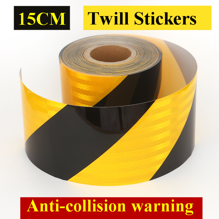 15CM Yellow and Black Twill Reflective Strips Parking Lot Ground sticker Anti-collision Warning Safety markings Conspicuity Tape