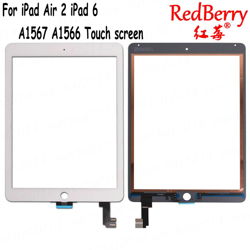Redberry For iPad Air 2 iPad 6 A1567 A1566 Replacement Touch Screen Digitizer Glass No Home Button White Black Free Shipping replacement touch screen digitizer glass for lg p970 black