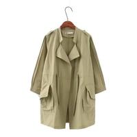 Open Stitch Windbreaker in Jackets Drawstring long coats ladies autumn jacket women 2018 large sizes of women's jackets