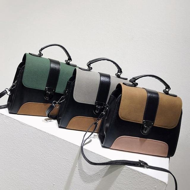 Women Casual Leather Sling Handbag Girls Crossbody Bag Patchwork Color Messenger Shoulder Bag Female Elegant Handbag 1