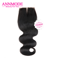 Annmode Peruvian Body Wave A Piece Lace Closure Middle Part 4x4 Non Remy Human Hair Swiss